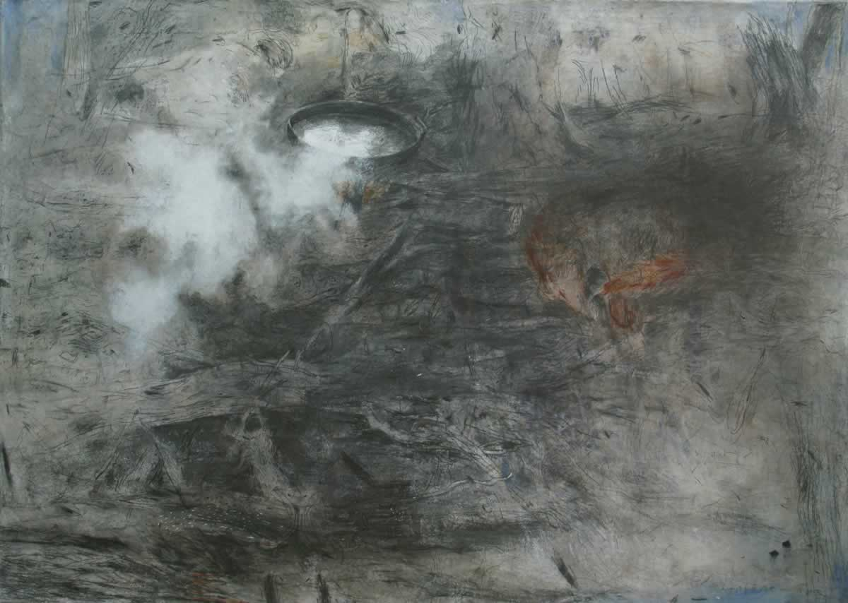 Campfire and fox | 140x100cm | 1993