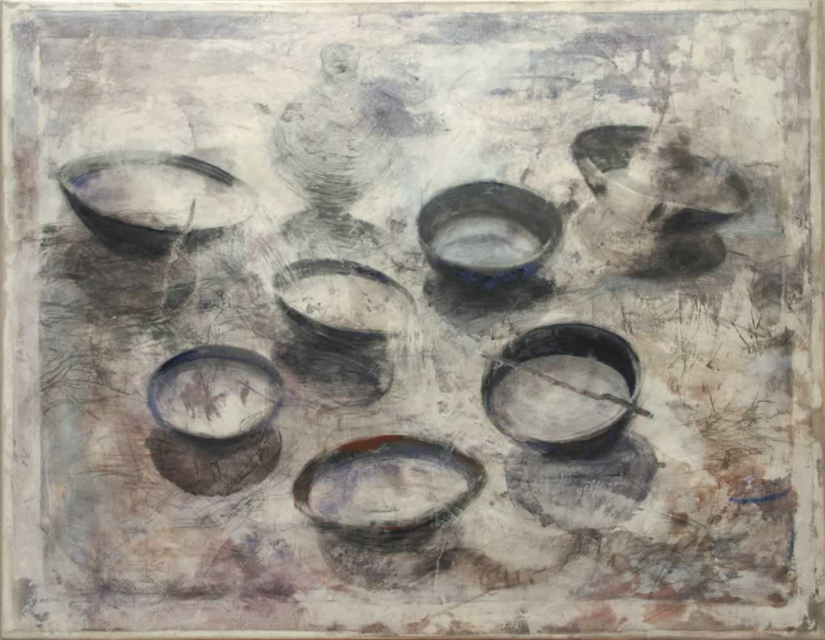 7 Bowls | 130x100cm | mixed media on canvas | 2012