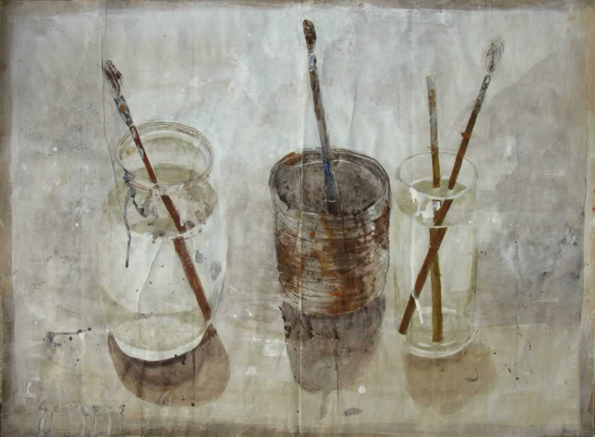 Atelier | 98x72cm | acryllic on craftpaper | 2012