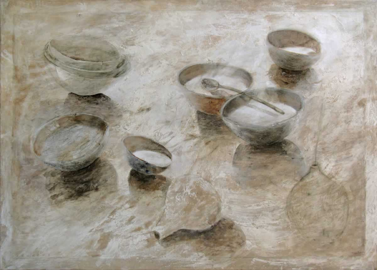 Bowls with 2 vases | 140x100cm | marbel powder, acryllic | 2012